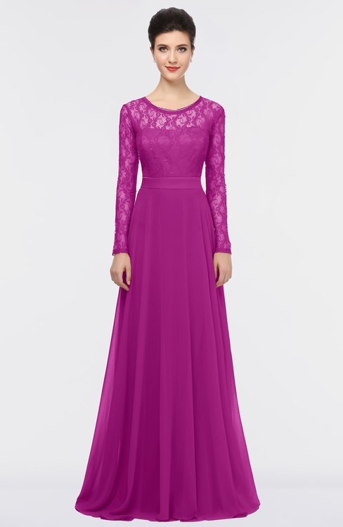 ColsBM Shelly Vivid Viola Romantic A-line Long Sleeve Floor Length Lace Bridesmaid Dresses