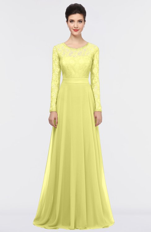 ColsBM Shelly Wax Yellow Romantic A-line Long Sleeve Floor Length Lace Bridesmaid Dresses