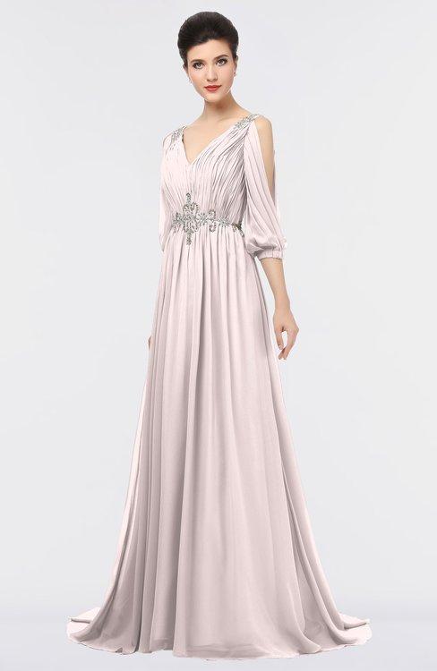 ColsBM Joyce Angel Wing Mature A-line V-neck Zip up Sweep Train Beaded Bridesmaid Dresses