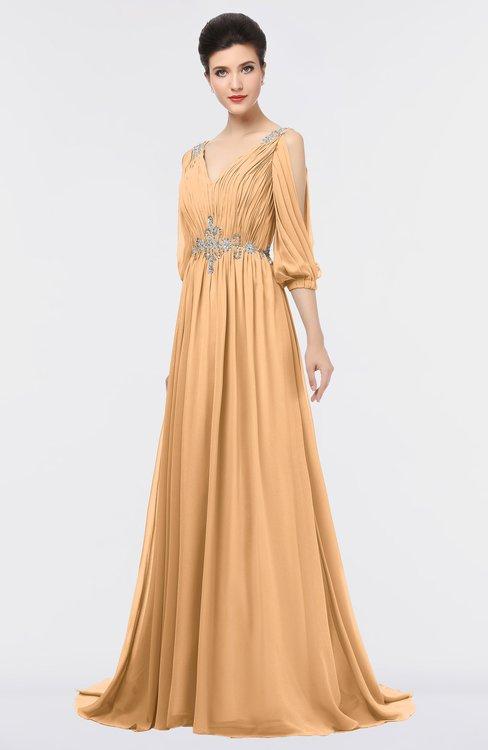 ColsBM Joyce Apricot Mature A-line V-neck Zip up Sweep Train Beaded Bridesmaid Dresses