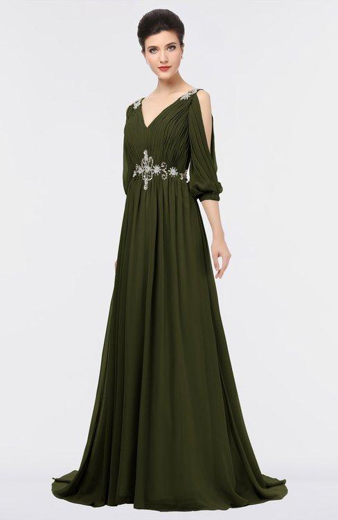 ColsBM Joyce Beech Mature A-line V-neck Zip up Sweep Train Beaded Bridesmaid Dresses