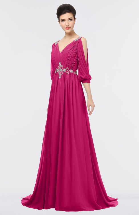 ColsBM Joyce Beetroot Purple Mature A-line V-neck Zip up Sweep Train Beaded Bridesmaid Dresses