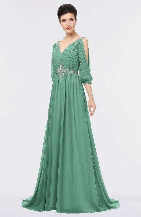ColsBM Joyce Beryl Green Mature A-line V-neck Zip up Sweep Train Beaded Bridesmaid Dresses