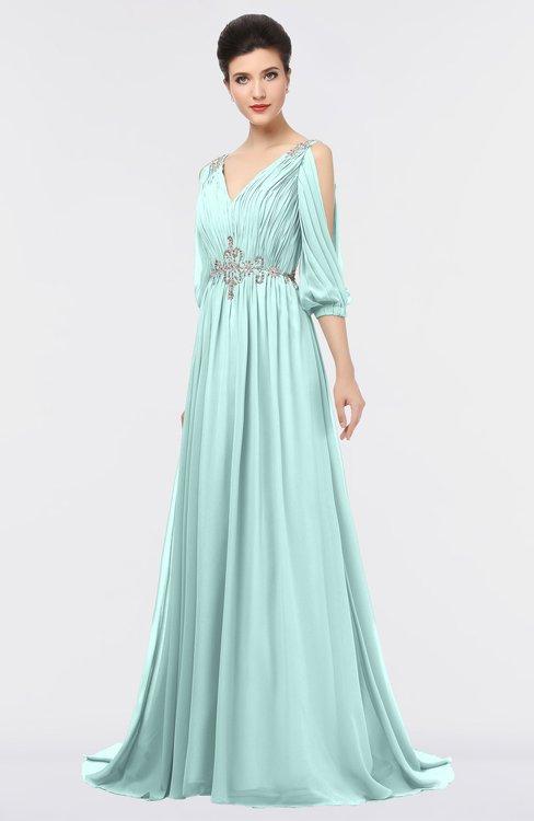 ColsBM Joyce Blue Glass Mature A-line V-neck Zip up Sweep Train Beaded Bridesmaid Dresses