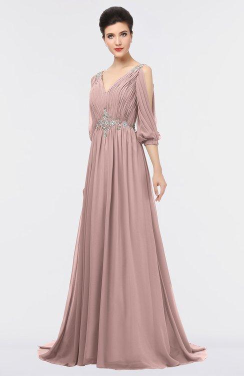 ColsBM Joyce Blush Pink Mature A-line V-neck Zip up Sweep Train Beaded Bridesmaid Dresses