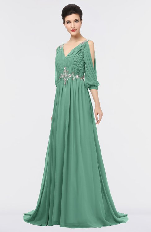 ColsBM Joyce Bristol Blue Mature A-line V-neck Zip up Sweep Train Beaded Bridesmaid Dresses