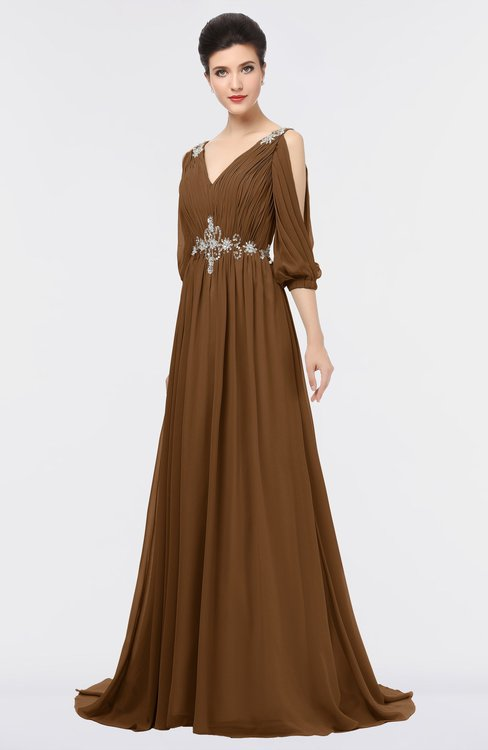 ColsBM Joyce Brown Mature A-line V-neck Zip up Sweep Train Beaded Bridesmaid Dresses