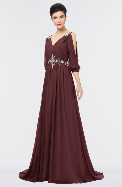 ColsBM Joyce Burgundy Mature A-line V-neck Zip up Sweep Train Beaded Bridesmaid Dresses