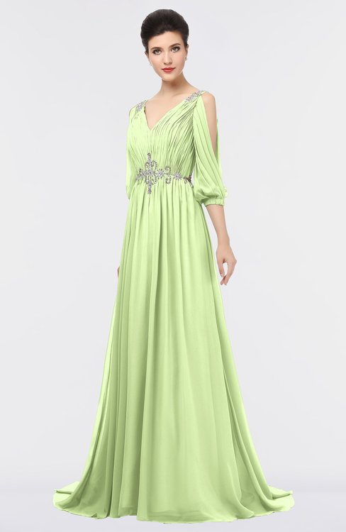 ColsBM Joyce Butterfly Mature A-line V-neck Zip up Sweep Train Beaded Bridesmaid Dresses