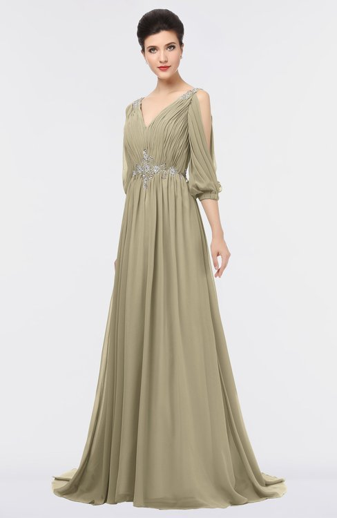 ColsBM Joyce Candied Ginger Mature A-line V-neck Zip up Sweep Train Beaded Bridesmaid Dresses