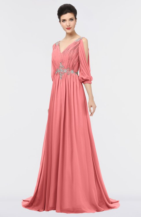 ColsBM Joyce Coral Mature A-line V-neck Zip up Sweep Train Beaded Bridesmaid Dresses