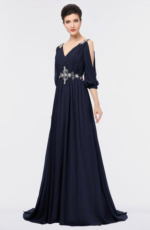 ColsBM Joyce Dark Sapphire Mature A-line V-neck Zip up Sweep Train Beaded Bridesmaid Dresses
