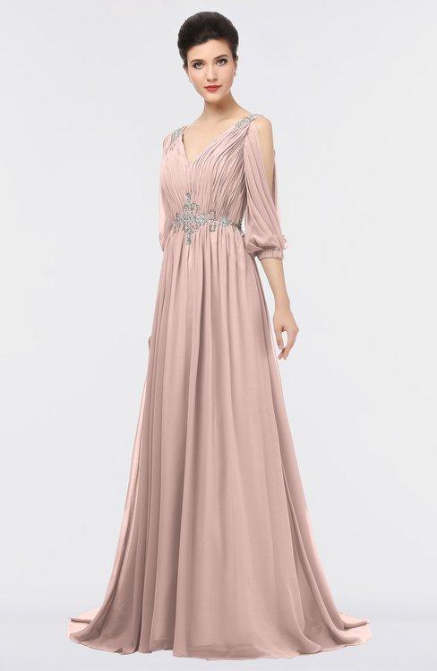 ColsBM Joyce Dusty Rose Mature A-line V-neck Zip up Sweep Train Beaded Bridesmaid Dresses