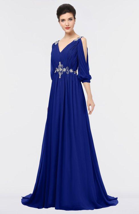 ColsBM Joyce Electric Blue Mature A-line V-neck Zip up Sweep Train Beaded Bridesmaid Dresses