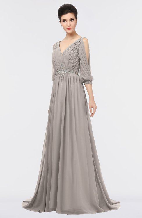 ColsBM Joyce Fawn Mature A-line V-neck Zip up Sweep Train Beaded Bridesmaid Dresses