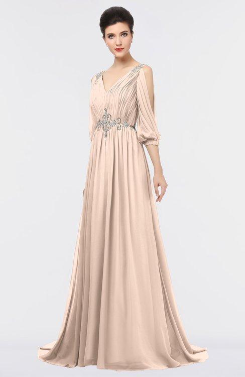 ColsBM Joyce Fresh Salmon Mature A-line V-neck Zip up Sweep Train Beaded Bridesmaid Dresses