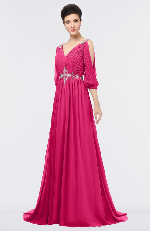 ColsBM Joyce Fuschia Mature A-line V-neck Zip up Sweep Train Beaded Bridesmaid Dresses