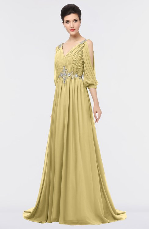 ColsBM Joyce Gold Mature A-line V-neck Zip up Sweep Train Beaded Bridesmaid Dresses
