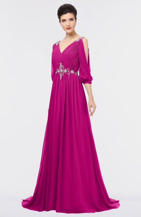 ColsBM Joyce Hot Pink Mature A-line V-neck Zip up Sweep Train Beaded Bridesmaid Dresses