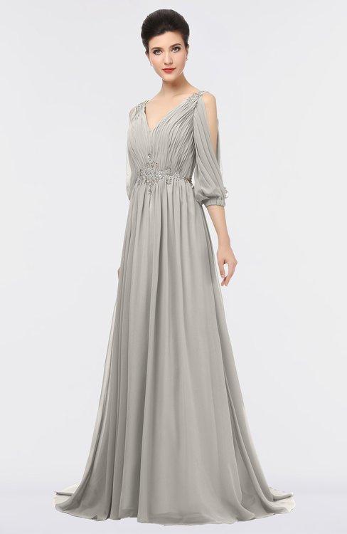 ColsBM Joyce Hushed Violet Mature A-line V-neck Zip up Sweep Train Beaded Bridesmaid Dresses