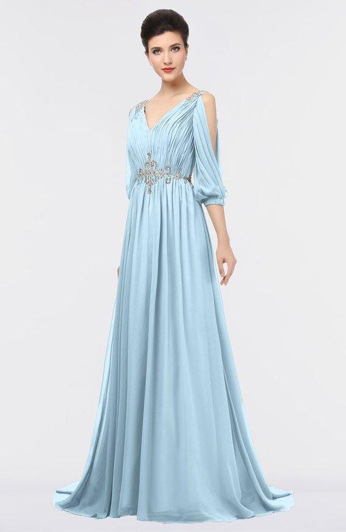 ColsBM Joyce Ice Blue Mature A-line V-neck Zip up Sweep Train Beaded Bridesmaid Dresses