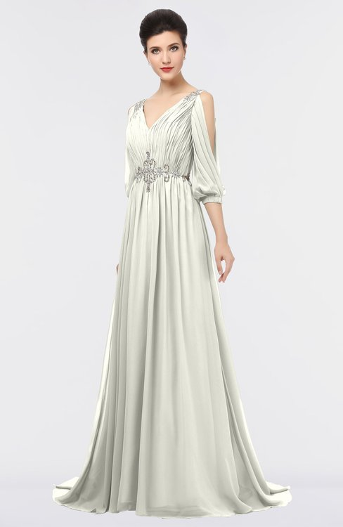 ColsBM Joyce Ivory Mature A-line V-neck Zip up Sweep Train Beaded Bridesmaid Dresses