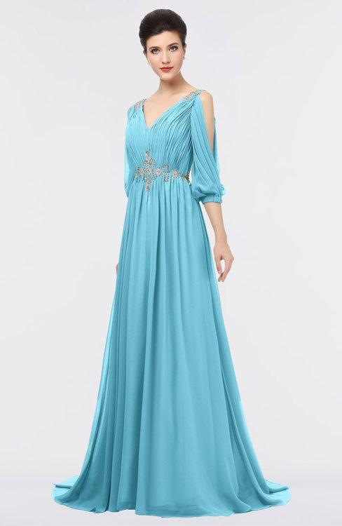 ColsBM Joyce Light Blue Mature A-line V-neck Zip up Sweep Train Beaded Bridesmaid Dresses