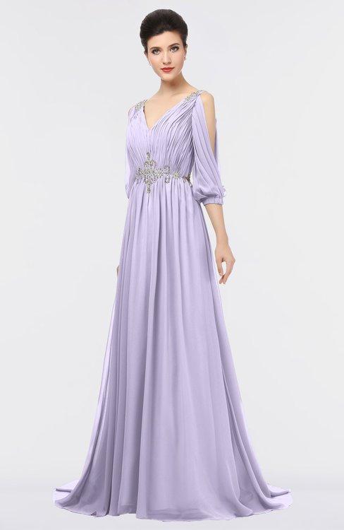 ColsBM Joyce Light Purple Mature A-line V-neck Zip up Sweep Train Beaded Bridesmaid Dresses