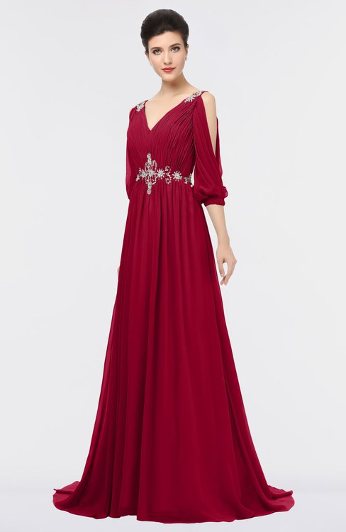 ColsBM Joyce Maroon Mature A-line V-neck Zip up Sweep Train Beaded Bridesmaid Dresses
