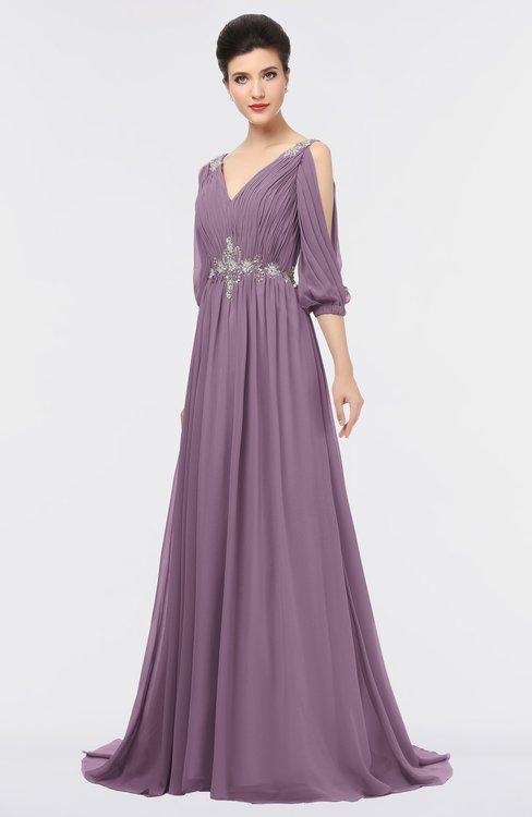 ColsBM Joyce Mauve Mature A-line V-neck Zip up Sweep Train Beaded Bridesmaid Dresses