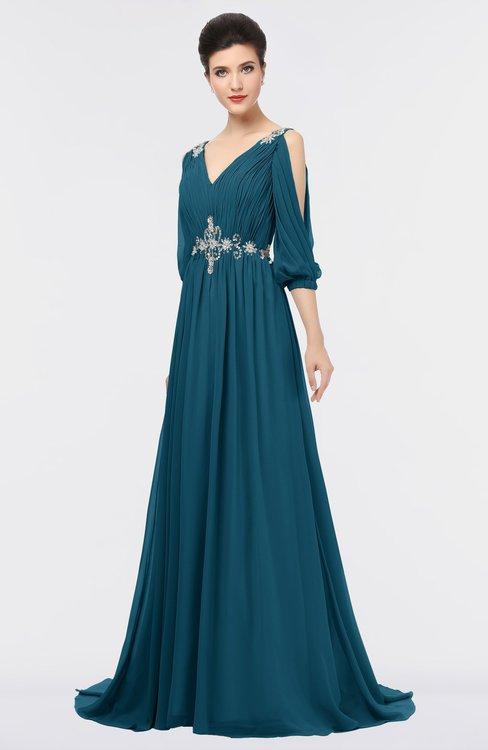 ColsBM Joyce Moroccan Blue Mature A-line V-neck Zip up Sweep Train Beaded Bridesmaid Dresses