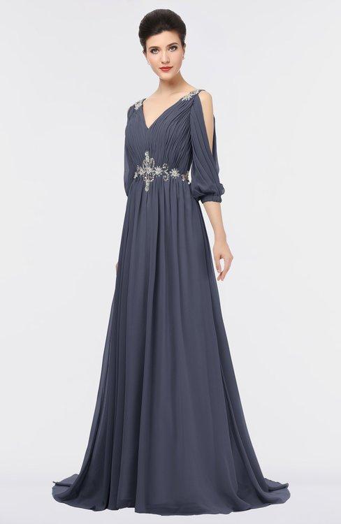 ColsBM Joyce Nightshadow Blue Mature A-line V-neck Zip up Sweep Train Beaded Bridesmaid Dresses