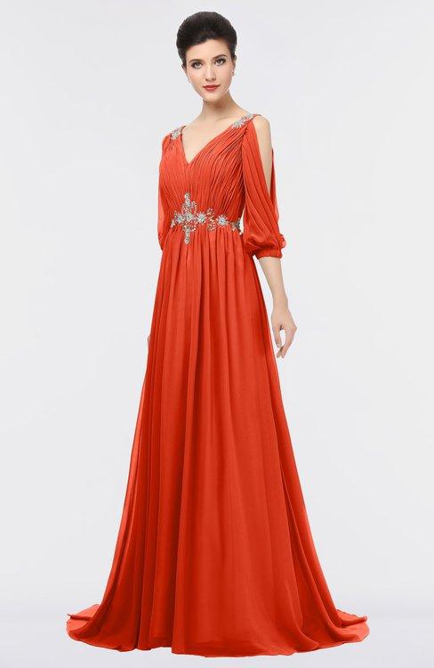 ColsBM Joyce Persimmon Mature A-line V-neck Zip up Sweep Train Beaded Bridesmaid Dresses