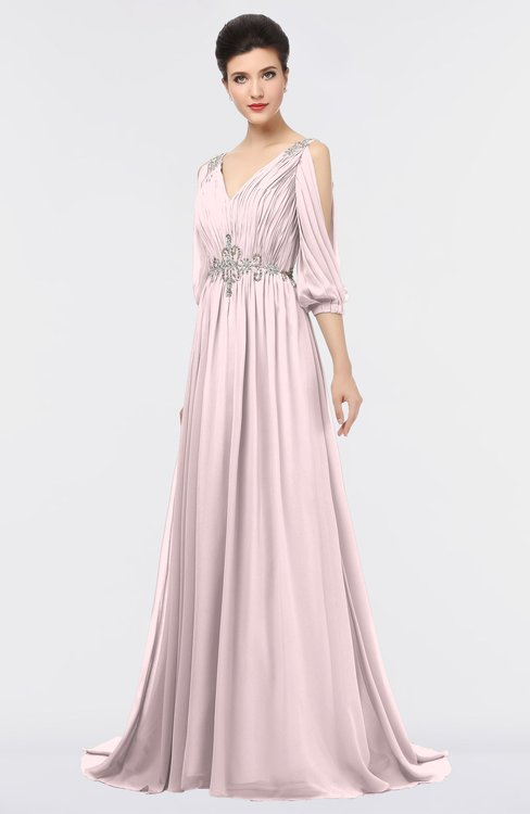 ColsBM Joyce Petal Pink Mature A-line V-neck Zip up Sweep Train Beaded Bridesmaid Dresses