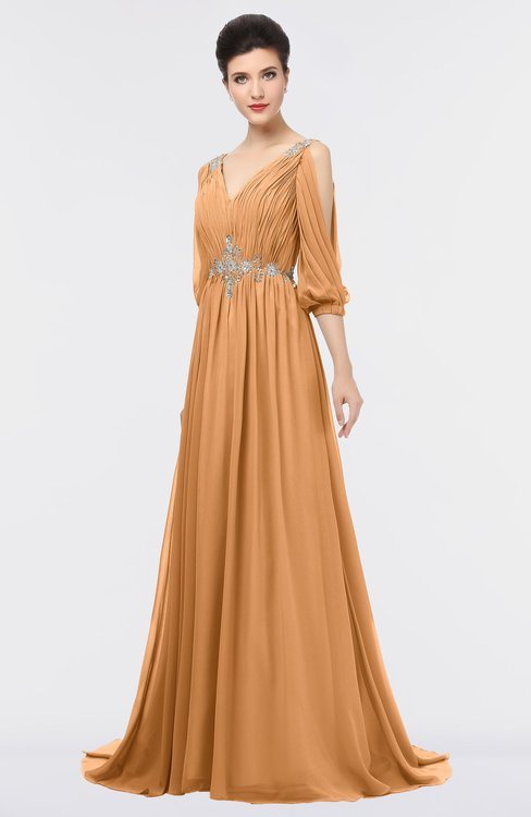 ColsBM Joyce Pheasant Mature A-line V-neck Zip up Sweep Train Beaded Bridesmaid Dresses