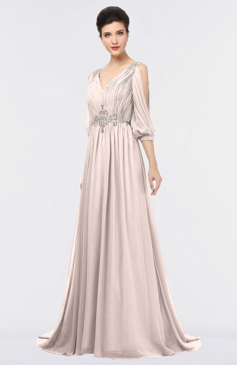 ColsBM Joyce Silver Peony Mature A-line V-neck Zip up Sweep Train Beaded Bridesmaid Dresses