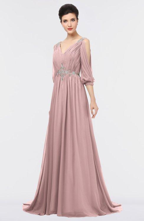 ColsBM Joyce Silver Pink Mature A-line V-neck Zip up Sweep Train Beaded Bridesmaid Dresses