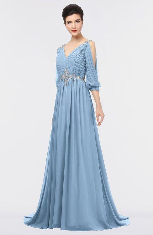 ColsBM Joyce Sky Blue Mature A-line V-neck Zip up Sweep Train Beaded Bridesmaid Dresses