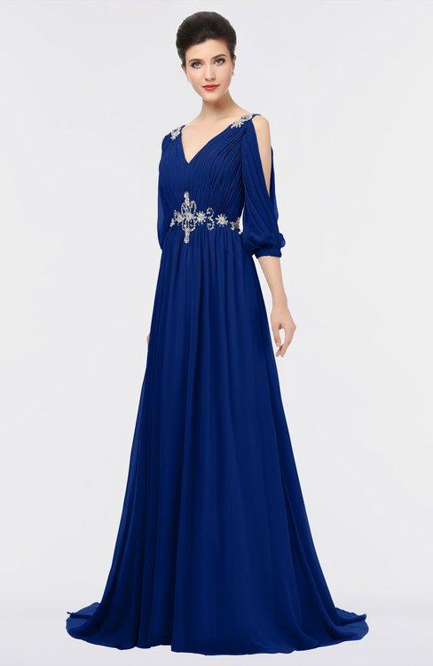 ColsBM Joyce Sodalite Blue Mature A-line V-neck Zip up Sweep Train Beaded Bridesmaid Dresses