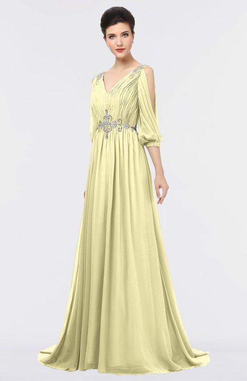 ColsBM Joyce Soft Yellow Mature A-line V-neck Zip up Sweep Train Beaded Bridesmaid Dresses