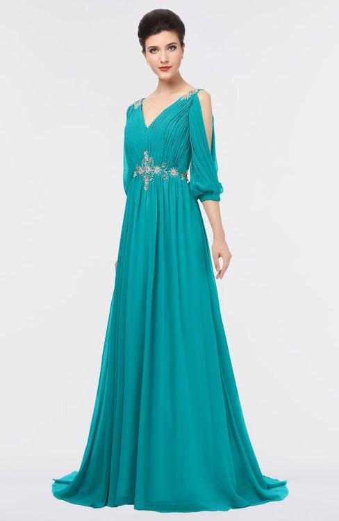 ColsBM Joyce Teal Mature A-line V-neck Zip up Sweep Train Beaded Bridesmaid Dresses