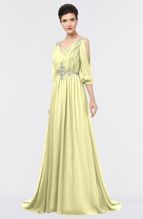 ColsBM Joyce Wax Yellow Mature A-line V-neck Zip up Sweep Train Beaded Bridesmaid Dresses