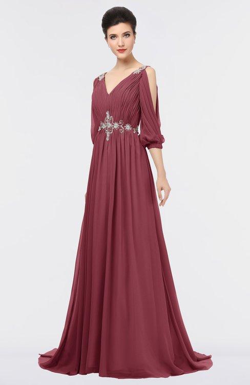 ColsBM Joyce Wine Mature A-line V-neck Zip up Sweep Train Beaded Bridesmaid Dresses