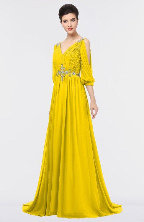 ColsBM Joyce Yellow Mature A-line V-neck Zip up Sweep Train Beaded Bridesmaid Dresses