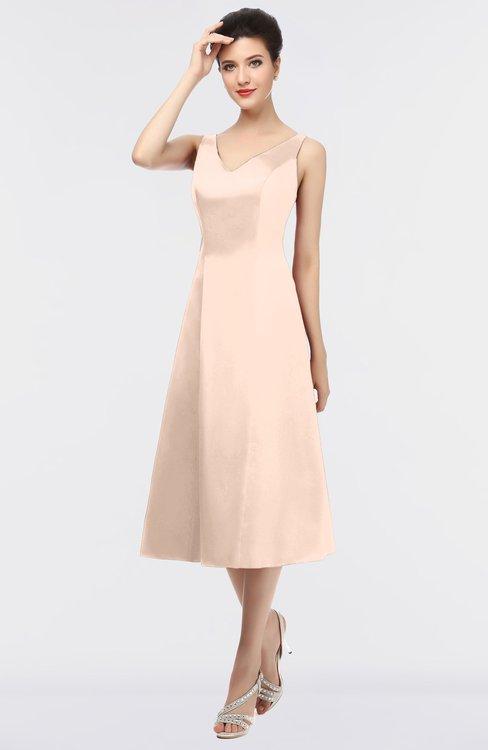 ColsBM Joanna Almost Apricot Mature A-line V-neck Zip up Plainness Bridesmaid Dresses