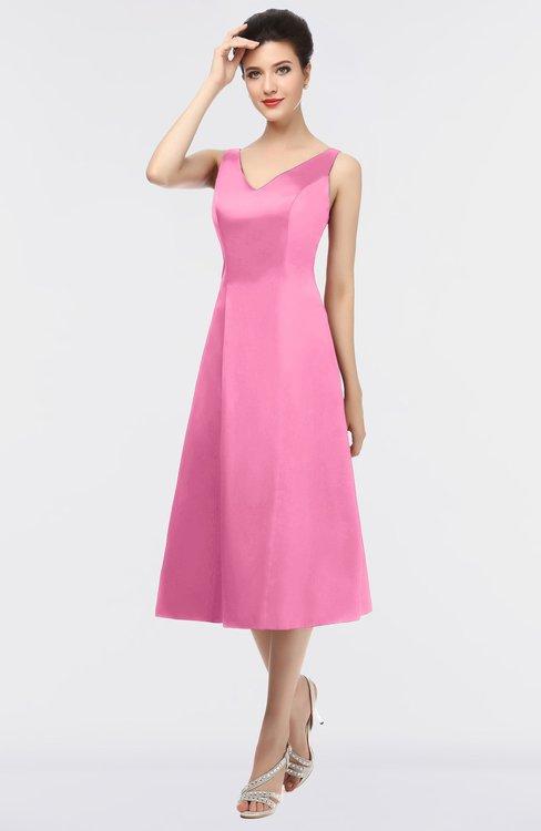 ColsBM Joanna Carnation Pink Mature A-line V-neck Zip up Plainness Bridesmaid Dresses