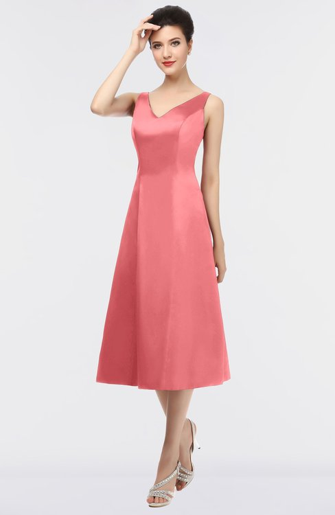 ColsBM Joanna Coral Mature A-line V-neck Zip up Plainness Bridesmaid Dresses