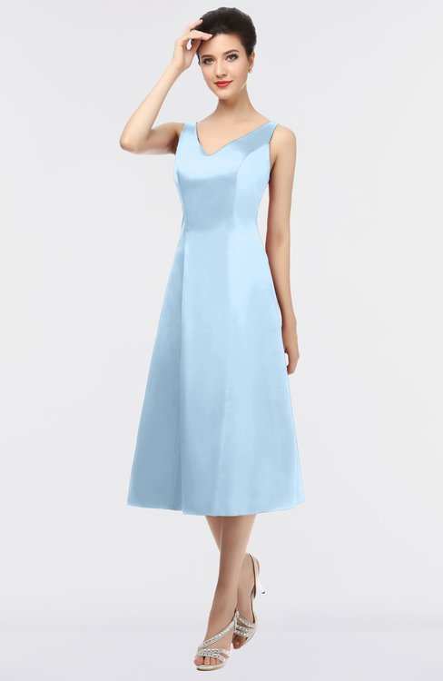 ColsBM Joanna Dream Blue Mature A-line V-neck Zip up Plainness Bridesmaid Dresses