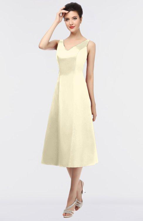 ColsBM Joanna Egret Mature A-line V-neck Zip up Plainness Bridesmaid Dresses