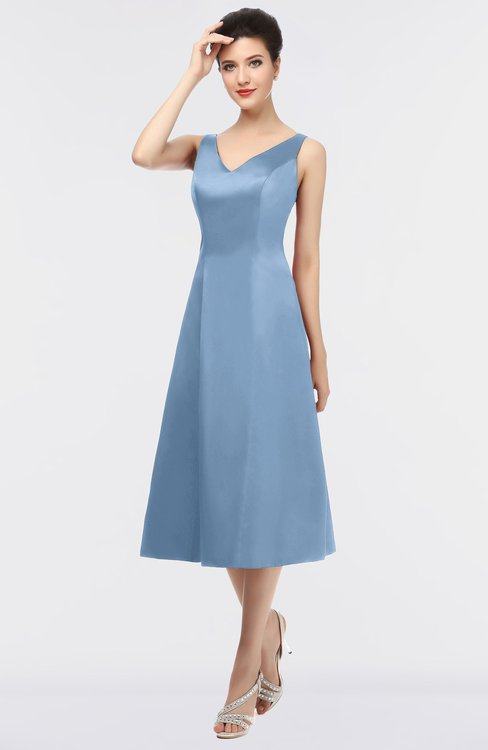 ColsBM Joanna Faded Denim Mature A-line V-neck Zip up Plainness Bridesmaid Dresses